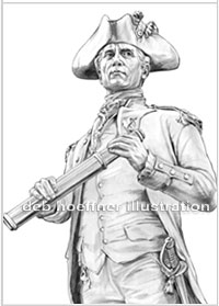 John Paul Jones b&w drawing for corporate logo illustrated