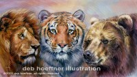 Lions and Tigers and Bears realistic animal illustration