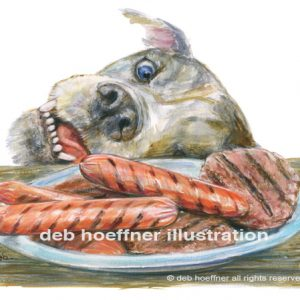 illustration of dog stealing hot dog for Forever Home children's book