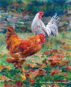 Bucks County Artist gallery chickens painting