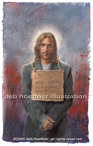 Contemporary Jesus Christ - homeless Christ with cardboard sign