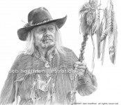 pencil portrait drawing of Native American