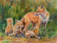 Wildlife art of Fox and kits
