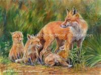 Wildlife art of Fox and kits