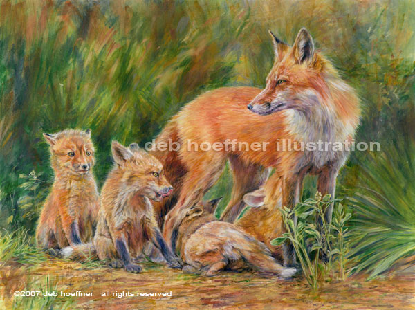 Wildlife art red fox painting