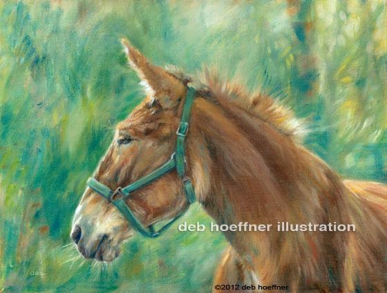 mule portrait animal oil painting