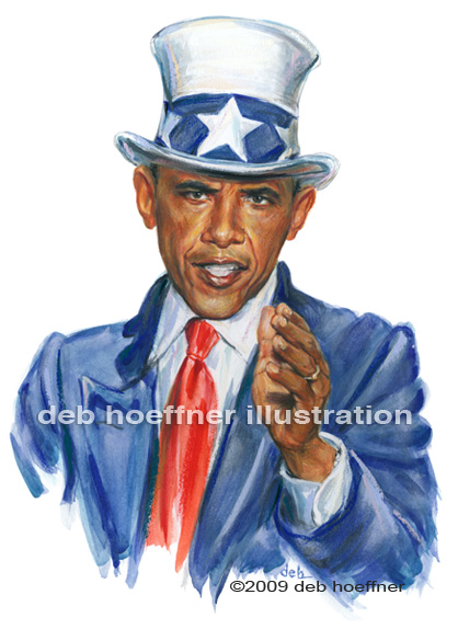 Uncle Sam - Barack Obama patriotic art deb hoeffner illustration