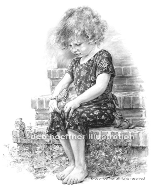 The storyteller pencil portrait of a child