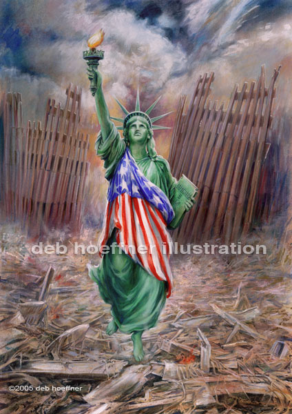 Statue of Liberty Resurrection from World Trade Center ruins after September 11, 2001