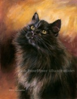 Oil portrait of purebred siberian cat by deb hoeffner