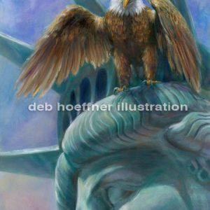 American alert- eagle on Statue of Liberty- vigilence