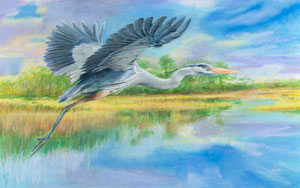 blue heron in flight watercolor painting captures beauty and spirit