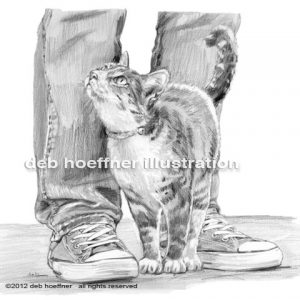 loving family cat illustration