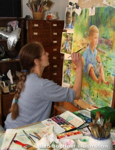 deb hoeffner at work in her artists studio