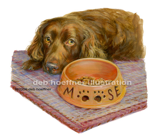 Dog and food bowl illustration for book Dog's Guide to Life