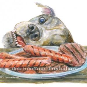 dog stealing food illustration
