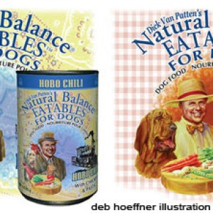 Natural Balance Eatables natural pet food packaging illustration by deb hoeffner