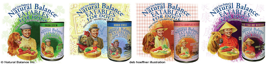 pet food packaging label illustrations by deb hoeffner