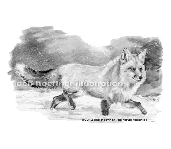 b&w book illustration fox in snow