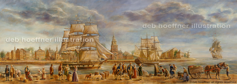 America's Founding Fathers in historical Philadelphia harbor