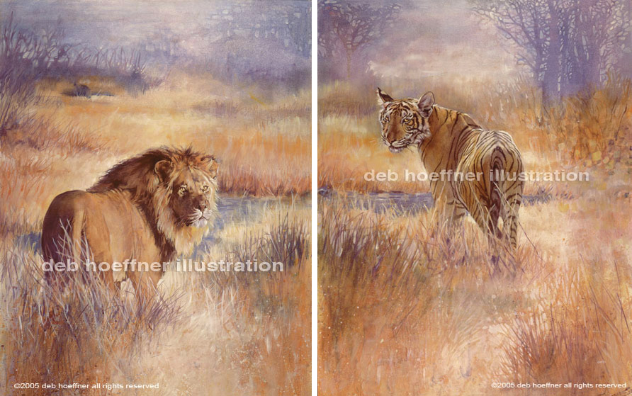 oil painting of Lion and Tiger