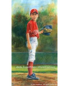 watercolor portrait of a little league pitcher
