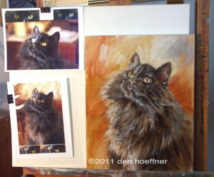 artist work in progress pet oil portrait in progress on easel