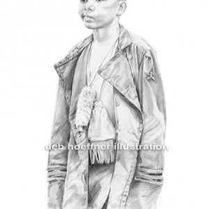 drawing of native american child at powwow in full regalia