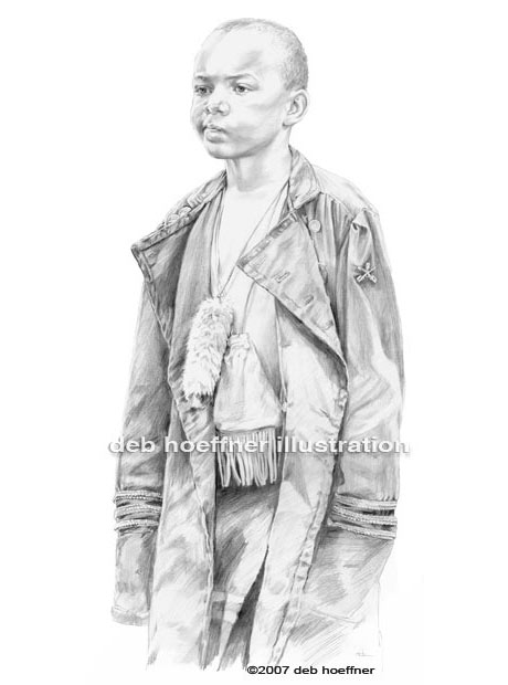 pencil portrait of an african american child