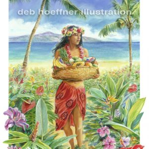 Hawaiian island woman illustration