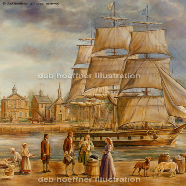 Ben Franklin and Thomas Jefferson in Philadelphia Harbor painting