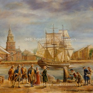 George Washington and John Adams in Philadelphia Harbor painting
