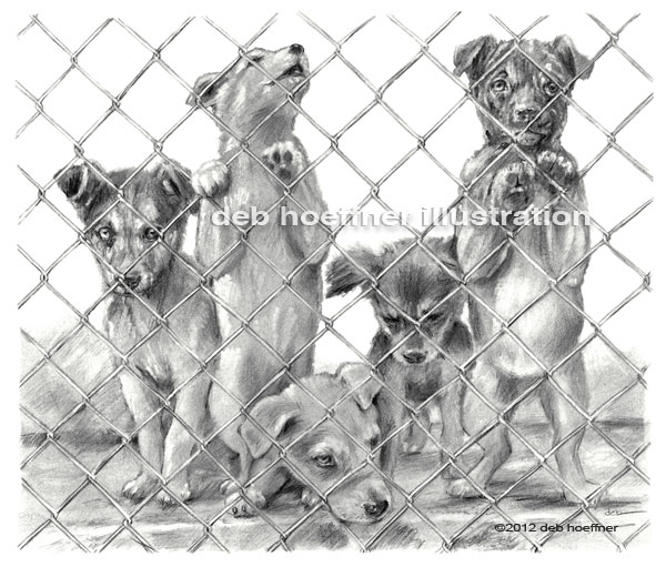 puppies in animal shelter illustration