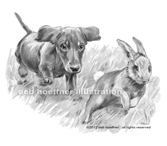 realistic black and white illustration puppy chasing