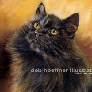 Siberian cat pet portrait oil painting