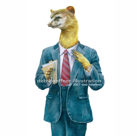 Anthropomorphic illustration weasel in business suit