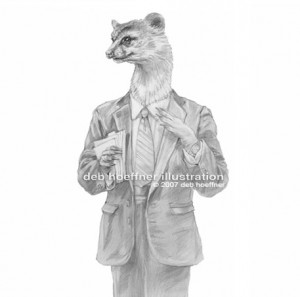character drawing of weasel in business suit