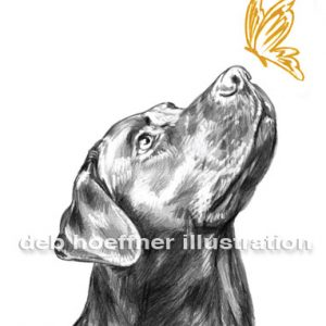 logo illustration black lab dog