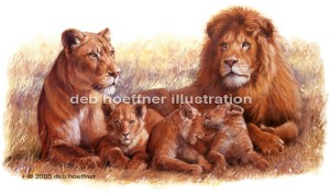Pride of African Lions illustration