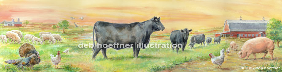 black angus cow and farm animals mural for store display