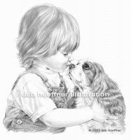 child and puppy illustration Cavalier King Charles Spaniel
