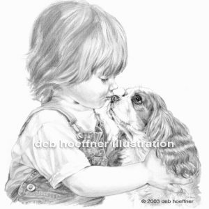child and puppy realistic black and white illustrations