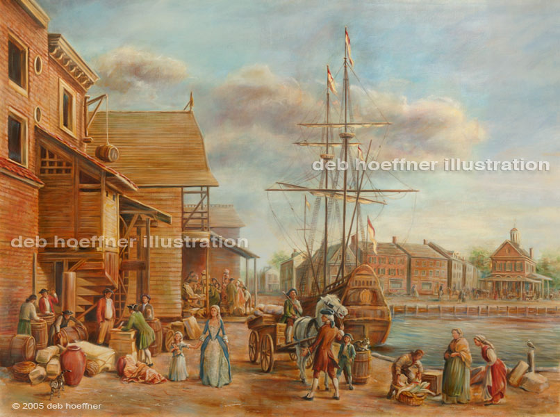 Old philadelphia harbor scene with fish market in for Fish market philadelphia
