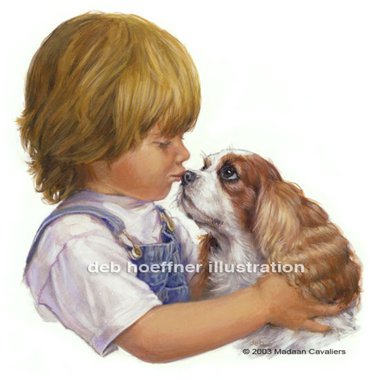 Cavalier King Charles Spaniel art dog and child illustration