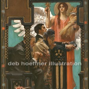 Digital restoration of J. C. Leyendecker original Thanksgiving Prayer illustration