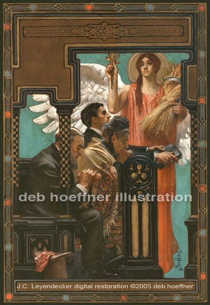 Digital restoration of J. C. Leyendecker original Thanksgiving Prayer illustration