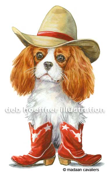 dog illustration cavalier king charles spaniel in cowboy boots