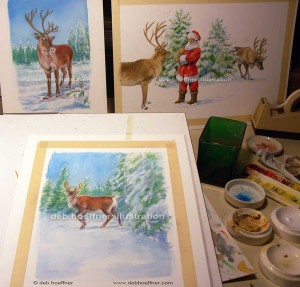 artist work in progress Christmas children's book Santa and reindeer