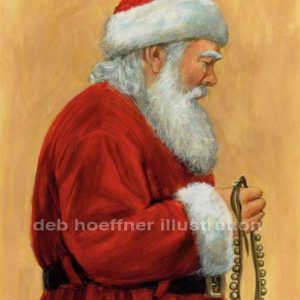 sad Santa Claus Christmas children's book illustration