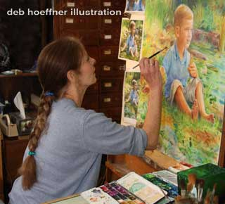 Enter the artist's studio to see deb hoeffner illustration works in progress